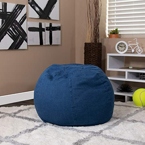EMMA + OLIVER Small Denim Bean Bag Chair for Kids and Teens