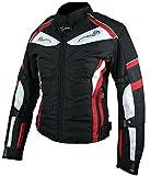 HEYBERRY Damen Motorrad Jacke Motorradjacke Textil Schwarz Rot Gr. S / 36