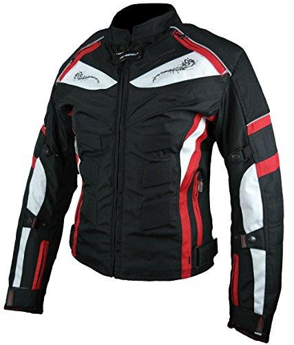 Heyberry Damen Motorrad Jacke Motorradjacke Textil Schwarz Rot Gr. L / 40