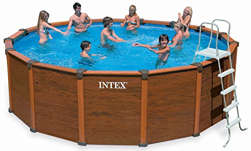 Intex Aufstellpool Wood Frame Pool Set, TÜV/GS, Braun, Ø 478 x 124 cm