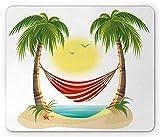 Alfombrilla de ratón con diseño gráfico de playa Ambesonne, Dibujos animados de ocio navideño con hamaca relajante entre palmeras, isla tropical, Alfombrilla de ratón rectangular de goma antideslizant