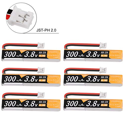 Makerstack 6pcs 300mah 1S HV 3,8V Lipobatterie 30C JST-PH 2.0 PowerWhoop mCPX-Anschluss Wiederaufladbare 1S LiPo-Batterie für Tiny Whoop Micro FPV Racing Drone