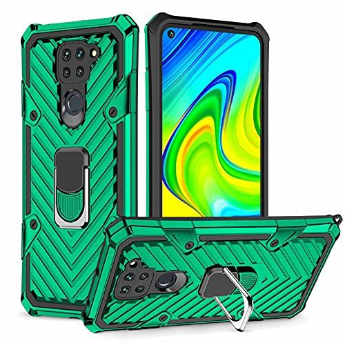 Lijc Compatible con Funda Xiaomi Redmi Note9 [Protector de Pantalla] 360 ° Giratorio Titular de Anillo Grado Militar Cubierta con Magnético Soporte para Coche Difícil Silicona Caso-Verde Oscuro