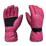 GREEN&RARE Guantes de snowboard impermeables para hombre y mujer, guantes antideslizantes, forro térmico de color de contraste, ajuste al aire libre para el clima frío