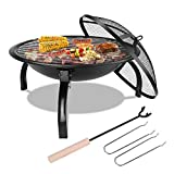 Femor Fire Bowl with Grill Grate & Protective Grille, 54x54x43cm, Multifunctional Fire Pit for Heating/BBQ, Garden Patio Fire Pit, Foldable & Portable Fire Basket & Grill, for Camping Picnic Garden