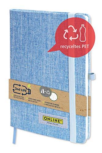 Online 04071/6 Notebook DIN A5 2nd Life, Umschlag aus recyceltem PET für eine saubere Umwelt, FSC-Papier 80g/m² gepunktet, 96 Blatt