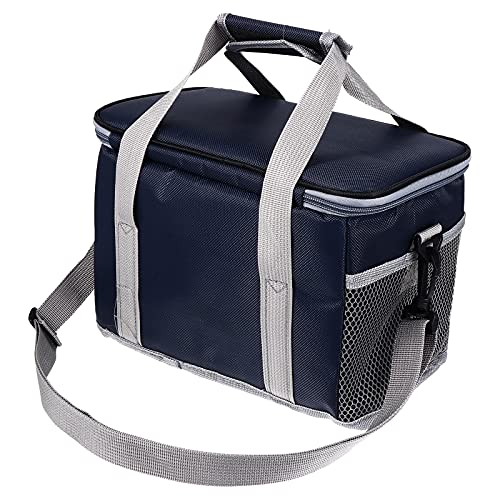 YARNOW Oxford Tela Impermeable Bolsa De Aislamiento Térmico Bolsa De Almuerzo Bolsa De Almuerzo (Azul Marino 8 litros+ Almohadilla Interior)