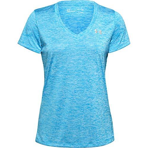 Under Armour Tech - Camiseta de Manga Corta con Cuello en V para Mujer, Color Azul Ecuador (419)/Tonal, X-Small