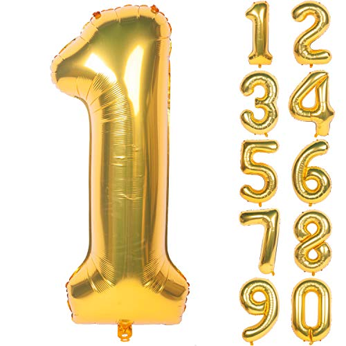 40 Inch Gold Digit Helium Foil Birthday Party Balloons Number 1