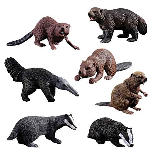 HOMNIVE Tierfiguren - 7 Stück realistische Tiere Figuren - Beinhaltet Dachs, Biber, Ameisenbär, Vielfraß - Pädagogisches Lernspielzeug Geburtstag Weihnachten Geschenk für Kinder