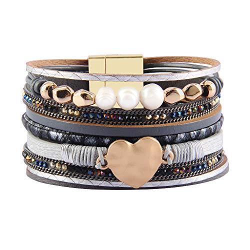 Jenia - Pulsera de cuero para mujer, con múltiples hebras, para envolver alrededor de pulseras, abalorio, corazón bohemio, hecha a mano, joyería para niñas, madre, esposa, damas, amante