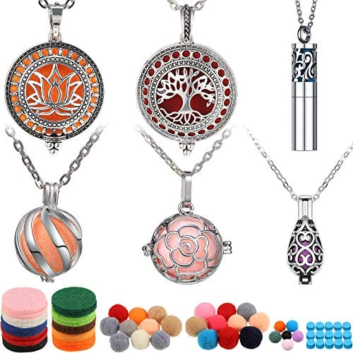 6 Pieces Essential Oil Diffuser Necklace Aromatherapy Locket Pendant Necklace Stainless Steel product image