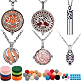 6 Pieces Essential Oil Diffuser Necklace Aromatherapy Locket Pendant Necklace Stainless Steel Necklace Jewelry Accessories with 60 Pieces Refill Pads and Balls for Women and Girls