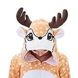 ABENCA Kids Deer Onesie Pajamas Christmas Halloween Animal Cosplay Sleepwear Costume,Deer,140