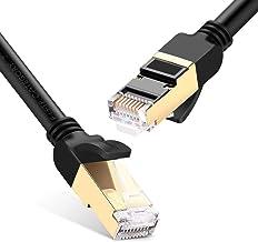 UGREEN Cable de Red Cat 7, Cable Ethernet LAN 10000Mbit/s con Conector RJ45 (10 Gigabit, 600MHz, Cable FFTP), Compatible con Cat 6, Cat 5e, Cat 5, etc, Cable Redondo (20 Metros, Negro)