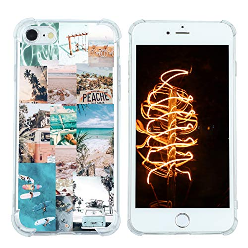 Case for iPhone 7/8/SE 2020, Vintage Vibe Collage Aesthetic Retro Sun Summer Island Peache Slim Case TPU Bumper Shockproof Protective Cover Case for Women Girls Support Wireless Charging