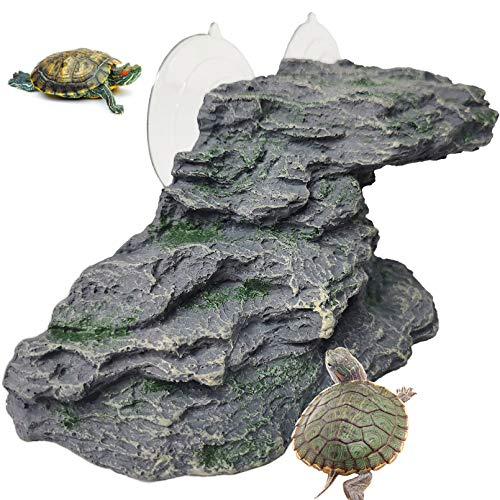 "Turtle Basking Platform Reptile Climbing Shale Resin Step Ledge Stone Aquarium Ornament Rock Landscaping Decoration with Suction Cups for Frogs Newts Amphibians Lizard (Medium:8.2""Lx3.3""Wx3.1""H)"