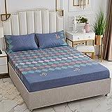 Nuoxuan Se Adapta Perfectamente al colchón,Hojas Impresas cepilladas, Dormitorio Individual y Doble tamaño King en apartamento de Hombre y Mujer-Azul 1_120x200cm + 25cm