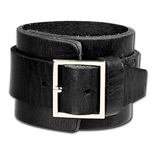 SilberDream Lederarmband schwarz mit Metallverschluss für Herren oder Damen Leder Armband Echtleder LAP014S