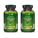 Irwin Naturals Aloe & Triphala Active Cleanse + Probiotics Natural Digestive Support - Gentle, Effective Detox + Elimination 2-Part Colon Care - Nourish + Balance - 60 Liquid Softgels (Pack of 2)