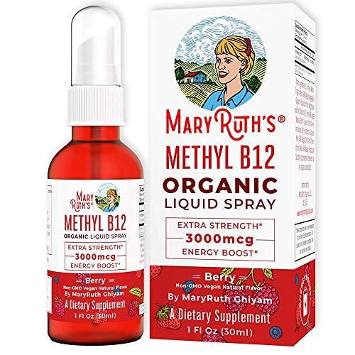 (Extra Strength-60 Day) Organic Vitamin B12 (Methyl) Liquid Sublingual Spray by MaryRuth's Energy Boost - Sugar Free - Non GMO Vegan - Gluten Free - Paleo - Bariatric, Celiac Glass Bottle 1oz-3000 mcg