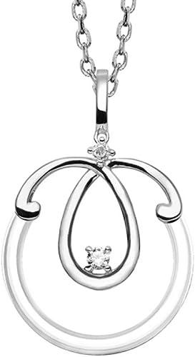 Bijoux Laperledplata Collar plata 925colgante rojoondo cerámica con volutas y circonio Sertis