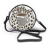 Doodle - Bolso bandolera de piel auténtica, diseño de taza de café con imagen vectorial, correa ajustable para el hombro para mujer