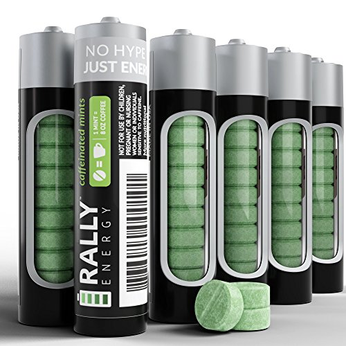 Caffeine Mints by Rally, 60milligram Caffeine, Instant Energy, Fresh Breath Caffeinated Mints, 0 Sugar, Natural Peppermint Flavor (6 Packs, 60 Mints)