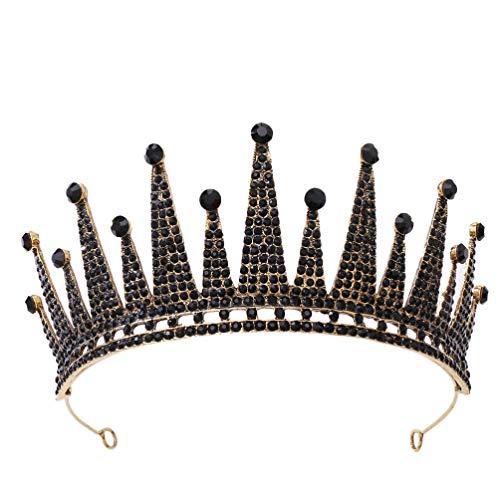 Minkissy Schwarze Strass Diademe Barock Krone Hochzeit Kopfstück Barock Festzug Tiara für Frauen