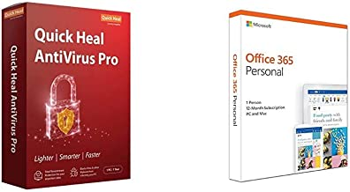 Quick Heal Antivirus Pro Latest Version - 1 PC, 1 Year (CD/DVD)&Microsoft Office 365 Personal for 1 user (Windows/Mac), 12 month/1 Year (Activation Key Card)