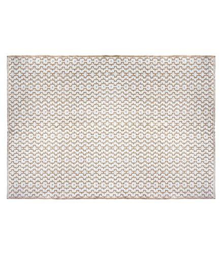 Atmosphera - Tapis décoratif en Jute Naturel et Coton Blanc 120 x 170 cm