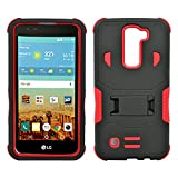 LG K7 Case, Heavy Duty Dual Layer Hybrid Case cover with Build In Kickstand Protective Case cover For LG K7 /Tribute 5 (T-Mobile, Sprint, Metro PCS, Boost Mobile) Black on Red