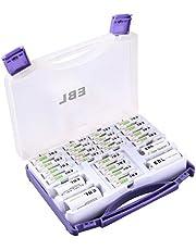 EBL 充電器充電池ファミリーセット 急速充電器+充電式ニッケル水素単三充電池(2800mAh)*8+単四充電池(1100mAh)*4+単一スペーサー*2+単二スペーサー*2(丈夫で黒い保管ケース) 単三単四ニッケル水素充電池充電器セット