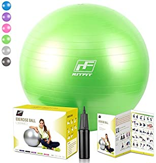 RitFit 2000lbs Exercise Stability Ball by, Anti Burst for Pilates Yoga Gym Fitness and Balance, Hand Pump and Workout Guide Included,Gym Quality and Phthalate Free