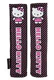 Hello Kitty KIT1034 Juego de 2 Almohadillas para cinturón de Coche Rosas universales, Negro/Rosa, Set de 2