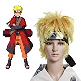 Beauty Wig World Anime Cosplay Wigs Short Natural Glueless Synthetic Fiber Hair Replacement Yellow Wigs Naruto Cosplay Wig (The Naruto Uzumaki うずまき ナルト)