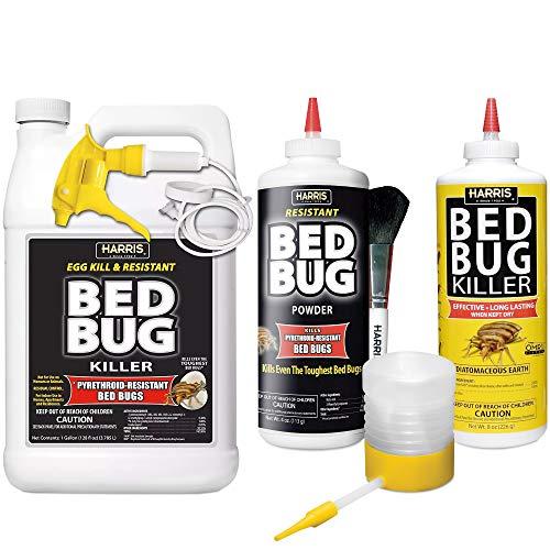 HARRIS Bed Bug Killer Value Bundle Kit - Diatomaceous Earth Powder, Toughest Bed Bug Powder, Toughest Gallon Spray and Powder Duster