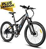 Eahora AM100 Plus 48V Mountain Electric Bike Air Full Suspension, Dual Hydraulic Brakes, 350W Urban Electric Bikes for Adults Removable Lithium Battery, Power Recharge System, 9-Speed Gear, Matt Black