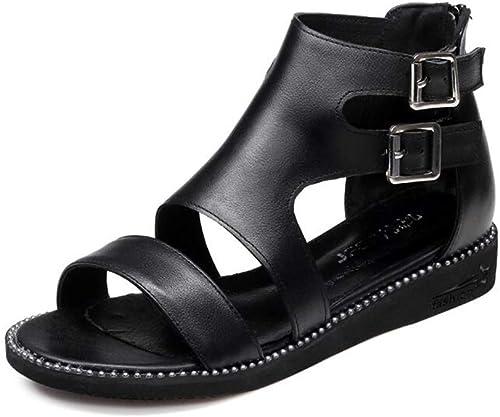 C-J-H C-J-H C-J-H Sandales femmesSandales en Cuir Sandales Plates pour Femmes d'été à Bout Ouvert Sandales Chaussures pour Femmes Rome, Noir,36 9b6