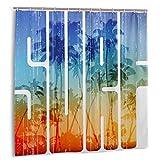 ZHENG Set de Cortinas de baño para decoración de baño,Summer Surf Retro Letters Que reflejan la Costa con Palmeras Cortinas de baño de Tela para Deportes Extremos con Ganchos 60x72in