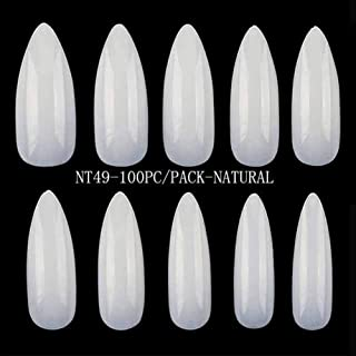 100 Pc/Set Clear Half Nail Tips South French Salon Acrylic Nail Art False Nail Tips for Manicure for Salon Tips Build (Color : NT49 Natural)