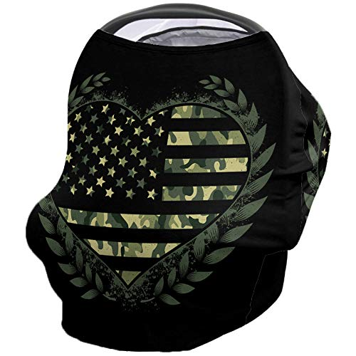 USA Flag Medal Nursing Covers for Breastfeeding Baby Stroller and Car Seat Combo Camouflage Themed Carseat Canopy Baby Cart High Chair Infinity Scarf