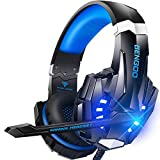BENGOO G9000 Stereo Gaming Headset for PS4 PC Xbox One PS5 Controller, Noise Cancelling Over Ear Headphones with Mic, LED Light, Bass Surround, Soft Memory Earmuffs