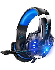 Bengoo ゲーミングヘッドセット ps4 ヘッドセット ゲーミングヘッドホン全効能 密閉型 ゲーム用ヘッドセット重低音 マイク付き ステレオゲーミングヘッドセット 騒音隔離 音量調整機能付き forPS4 SWITCH XBox one PCに対応 (青)