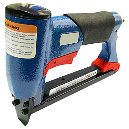 KKAAMYND FS8016-B - Grapadora neumática de alambre fino, para tiras neumáticas, clavos, clavadora, herramienta de carpintería, color rojo y azul, 43 x 200 x 145 mm, interruptor final de clip.