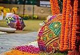 The Art Box indischer handgefertigter Designer-Sonnenschutz Sonnenschirm aus Baumwolle, Mehrfarbig, Bestickt