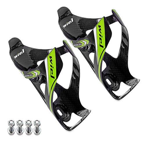 Wiel 100% Full Carbon Fiber Bicycle Bike Light Drink Water Bottle Cage Holder 2PCs Green