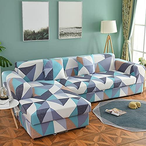 ASCV Moderno Estampado a Cuadros Estiramiento en Forma de L Funda seccional Geometría Spandex Funda de sofá para Sala de Estar Funda de sofá de Abrigo Ajustado A6 3 plazas
