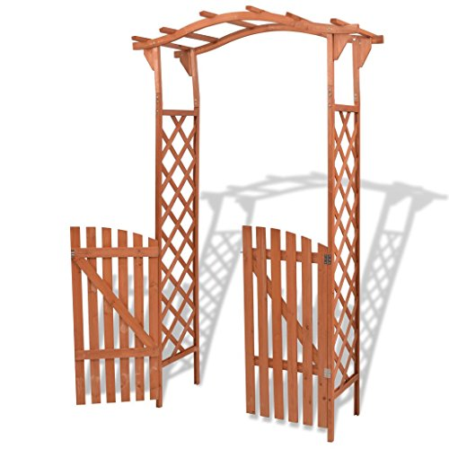 BNT sunflowers Garden Arch with Gate Solid Wood 120x60x205 cm