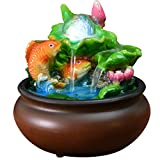 J.Mmiyi Tabletop Water Fountains Indoor Goldfish and Lotus Pond, Cascading Waterfall Fountain Feng Shui Decoration for Home Or Office,A
